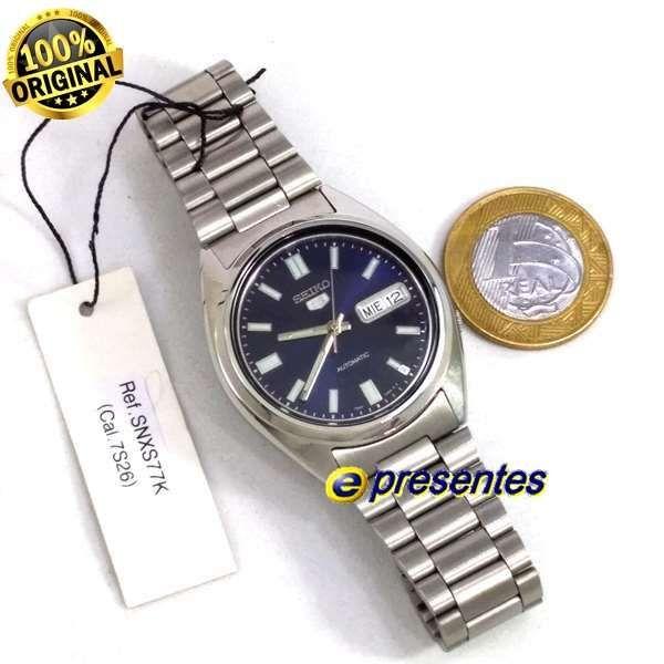 Relógio Automático Seiko 5 SNXS77K Aço Inox Azul 37MM  - E-Presentes