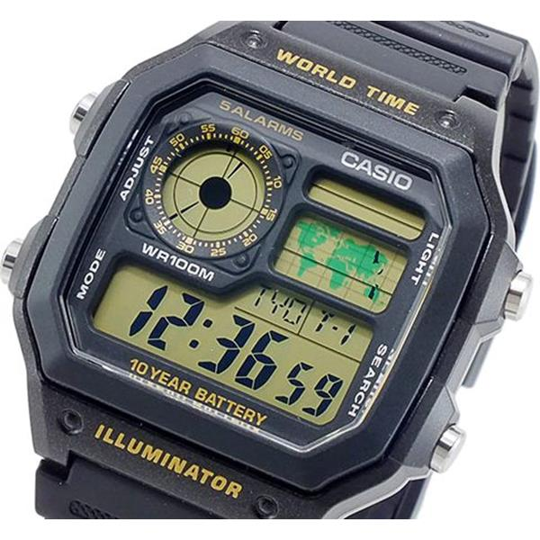 cc4d2dfbd49 Relógio Casio Digital AE-1200WH-1BV World Time wr100 - E-Presentes
