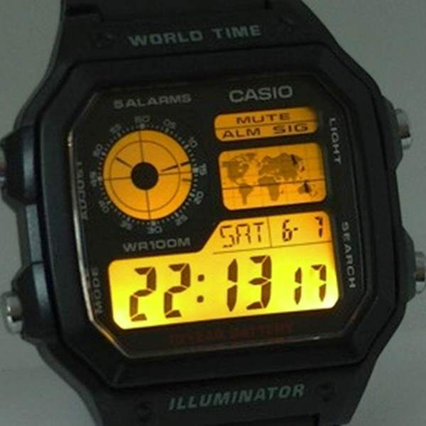 Relógio Casio Digital AE-1200WH-1BV World Time wr100  - E-Presentes