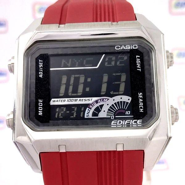 Relogio Casio Edifice Digital EFD-1000 4VDF Resina VERMELHO  - E-Presentes