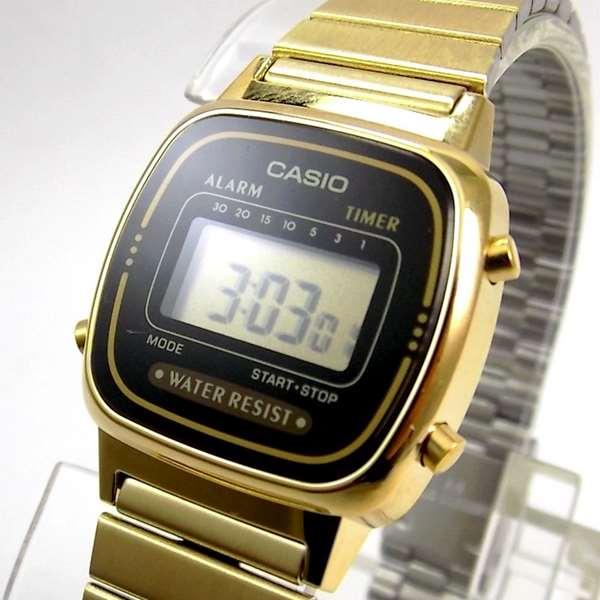 Relógio Casio Feminino Mini Dourado Retro La670wga-1df  - E-Presentes