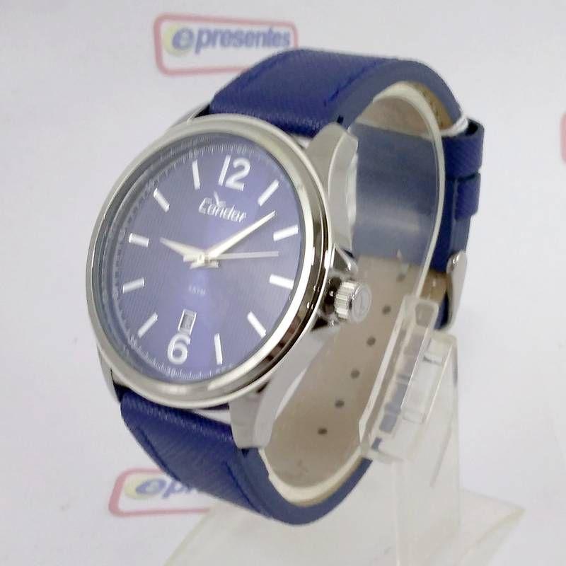 CO2115KTD/2A  Relógio Condor Feminino Azul Pulseira Couro Azul 44mm  - E-Presentes