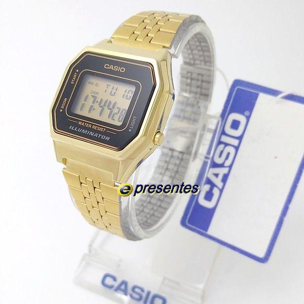 Relógio Feminino Casio Digital Dourado Vintage La680wga-1df  - E-Presentes