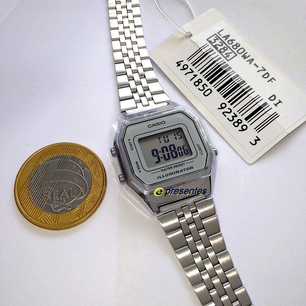 Relógio Feminino Casio Digital Prateado Vintage LA680WA-7df  - E-Presentes