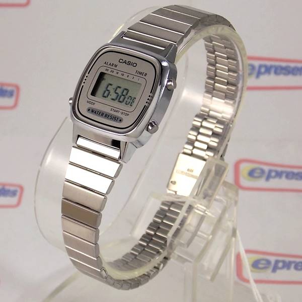 2948add716d Relogio Feminino Casio Mini Prateado Serie Retro La670wa-7df - E-Presentes
