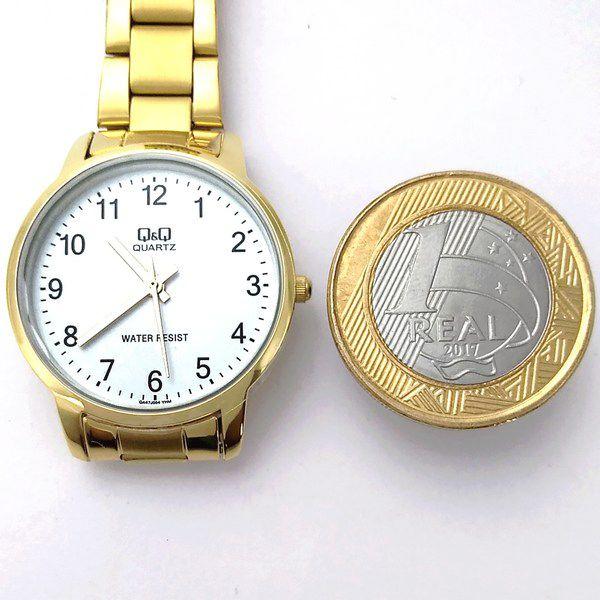 Relógio Feminino Dourado 31mm Q&q Quartz Wr30 QA47J004Y  - E-Presentes