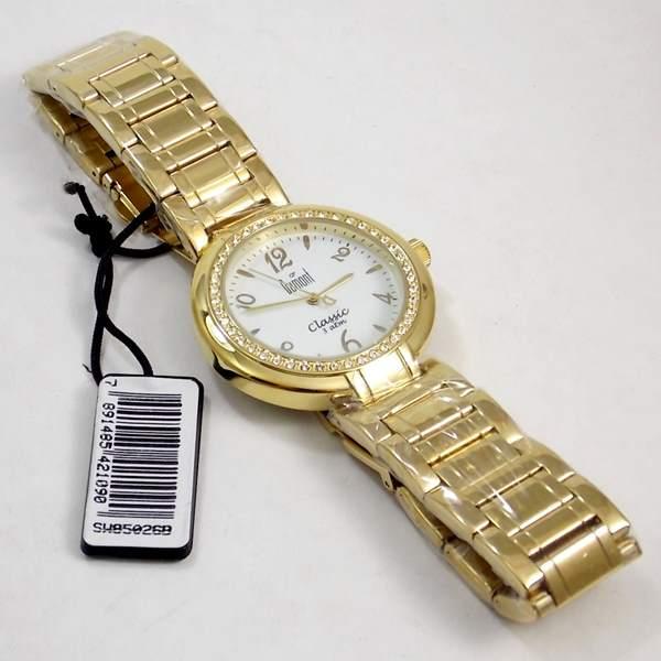 Relógio Feminino Dourado Cristais Swarovsk SW85026B  - E-Presentes