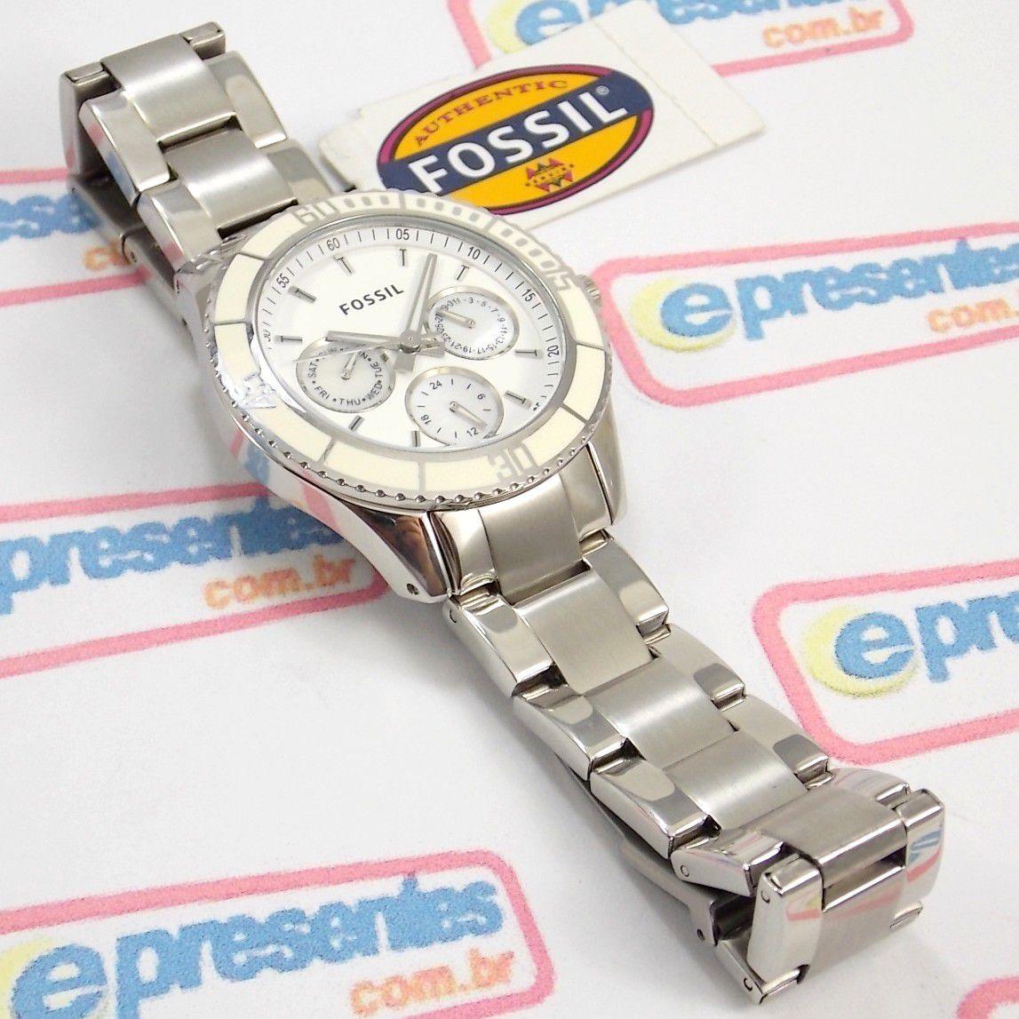 4f0c929a59c Relógio Feminino Fossil FES2783N Aço Mostrador Madreperola - E-Presentes