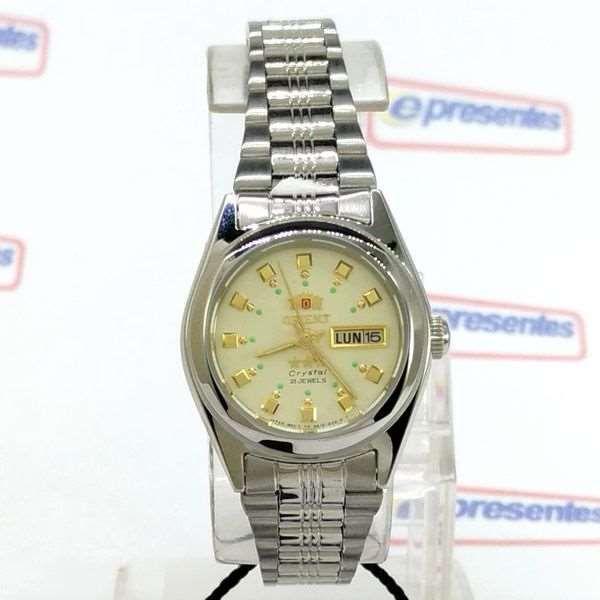 5b9873718618e ... Relógio Feminino Orient Automatico FNQ1X003C9 Fundo cor Champagne - E- Presentes ...