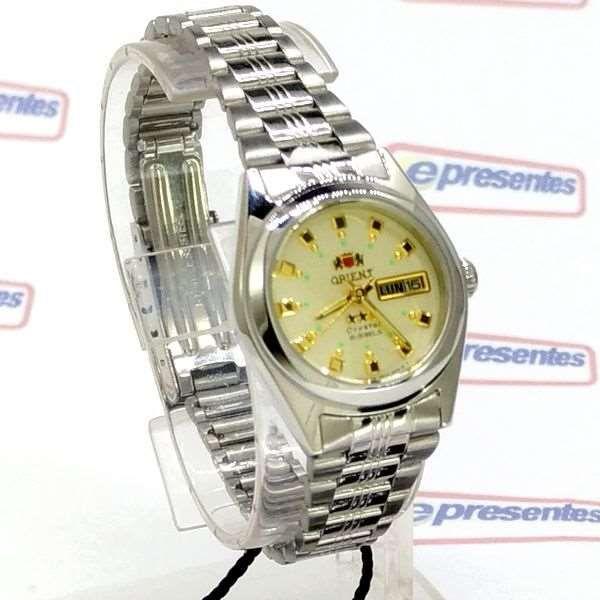 Relógio Feminino Orient Automatico FNQ1X003C9 Fundo cor Champagne  - E-Presentes