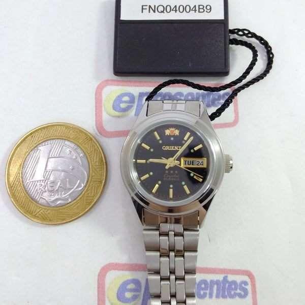 Relógio Feminino Orient Automatico Mini Prateado / PRETO FNQ04004B9  - E-Presentes