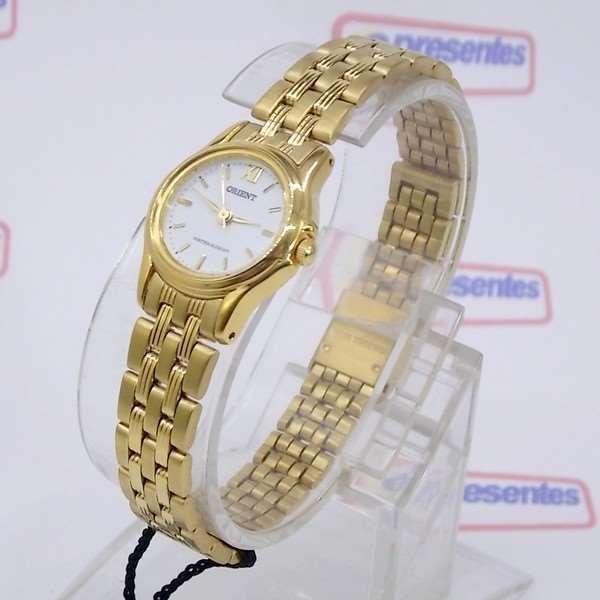 e8799b45f91 Relógio Feminino Orient Mini Dourado FUB4W005G0 Quartz Retrô 22mm de  largura - E-Presentes ...