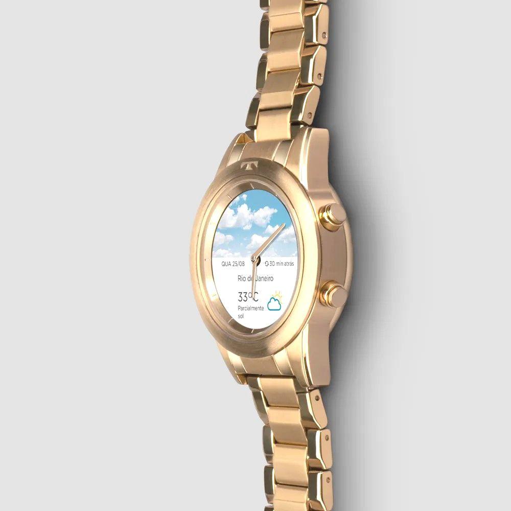 Relógio Inteligente SMARTWATCH Technos Connect Duo Feminino Dourado P01AC/4P  - E-Presentes