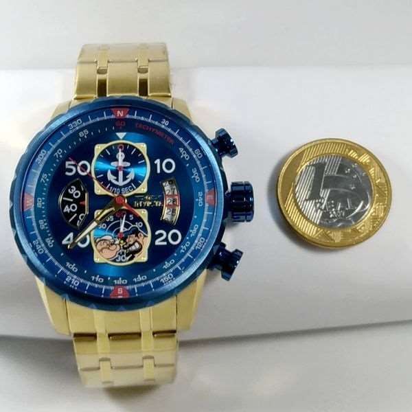 Relogio Invicta 25153 Cronograph Aço Inox Dourado Popeye Collection  - E-Presentes