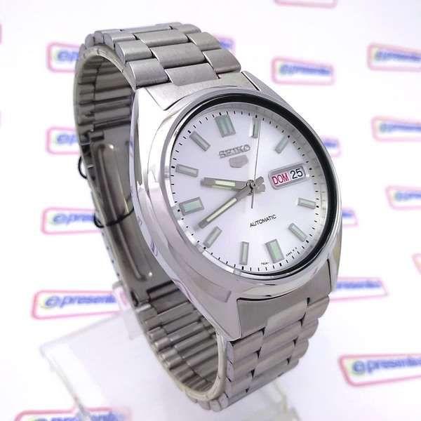 Relógio Masculino Automático Seiko5 Fundo Prata 38mm SNXS73K  - E-Presentes
