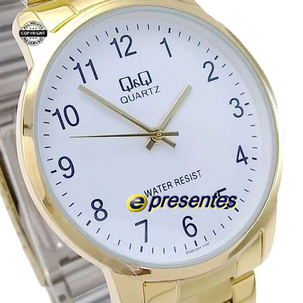 Relógio Masculino Dourado Inox Q&Q QA46J004Y - Maq Citizen  - E-Presentes