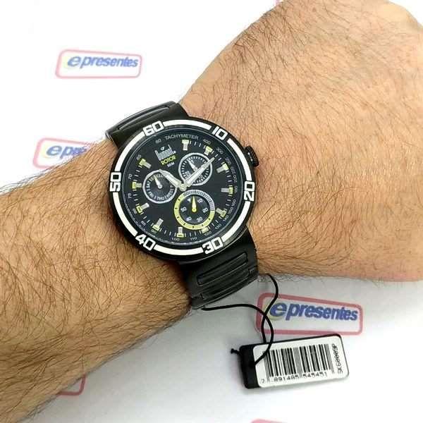 Relogio Masculino Dumont Rotor Black Ip 2 Pulseiras SK60009P  - E-Presentes