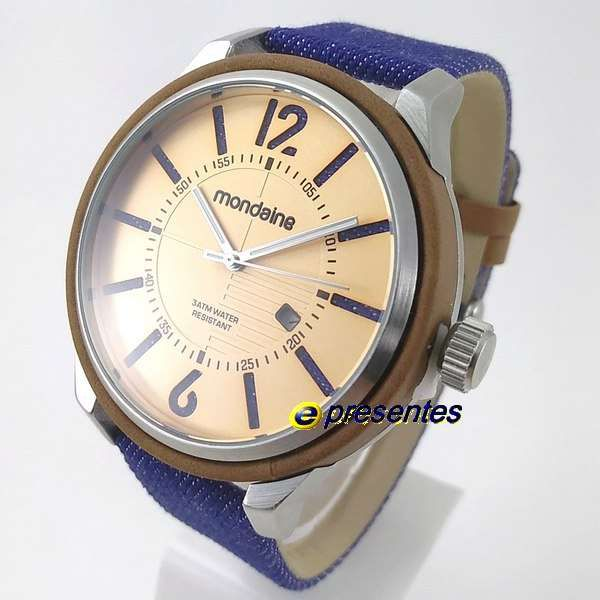 73c11b6a12a Relogio Masculino Mondaine wr30 Pulseira Couro Jeans Grande 47mm -  E-Presentes