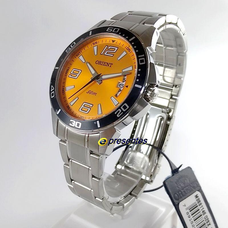 Relógio Masculino Orient Analógico Quartz MBSS1146-O2SX Mostrador Laranja 42mm WR50M  - E-Presentes