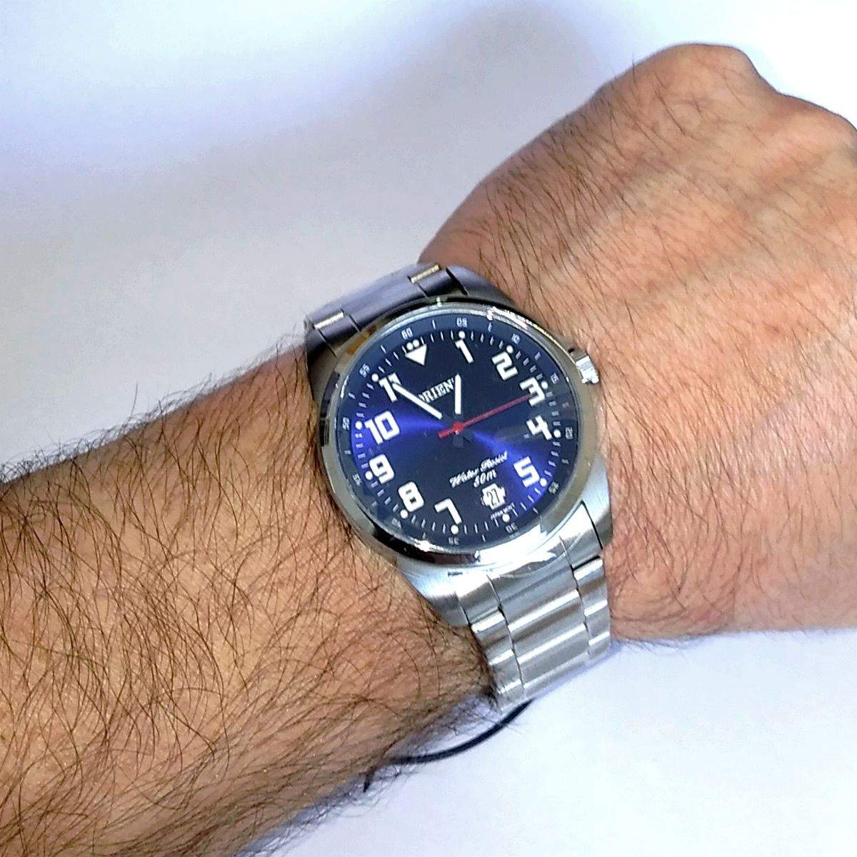 Relógio Masculino Orient Analógico Quartz MBSS1154A D2SX  42mm Fundo AZUL WR50M  - E-Presentes