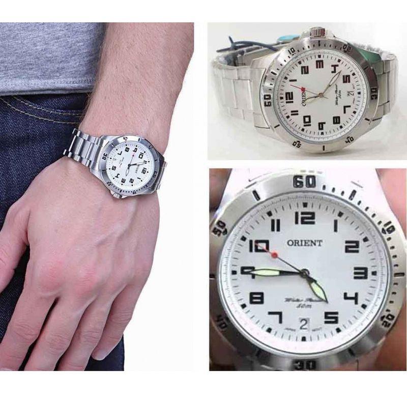 Relógio Masculino Orient Analógico Quartz MBSS1155A S2SX  42mm Fundo Branco WR50M  - E-Presentes
