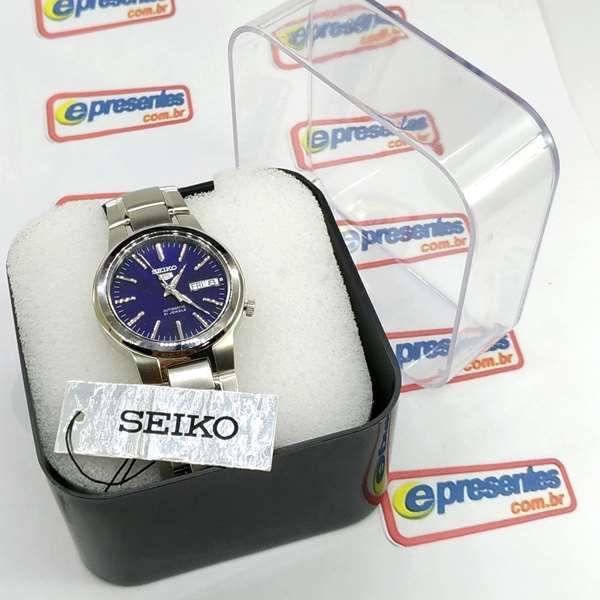 Relógio Masculino Seiko Automático SNKA05K1 Aço Inox Fundo Azul  - E-Presentes