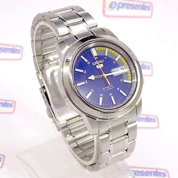 Relógio Masculino Seiko Automatico SNKK27K1 Aço Inox Fundo Azul  - E-Presentes