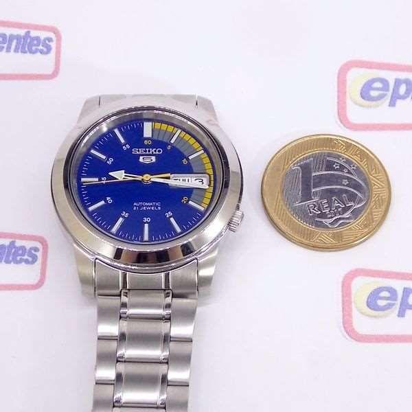 Relógio Masculino Seiko Automatico SNKK27K1 Aço Inox Fundo Azul  - Alexandre Venturini