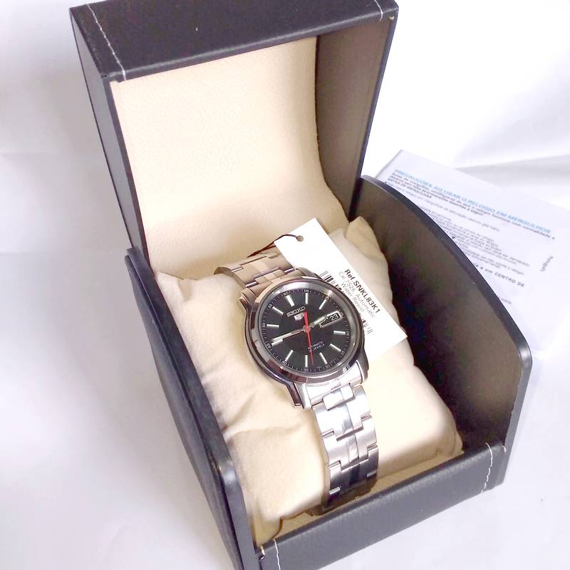 Relógio Masculino Seiko Automatico SNKL83K1 Aço Inox 38MM SEIKO-5  - E-Presentes