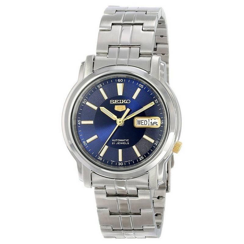 Relógio Masculino SNKL79K1 Seiko Automatico Azul Aço Inox 38MM SEIKO-5  - E-Presentes