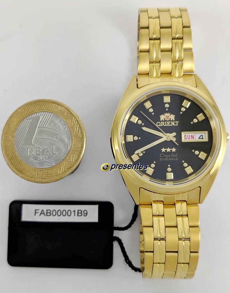 Relogio Orient Automatico Dourado Masculino FAB00001B9 37mm largura  - E-Presentes
