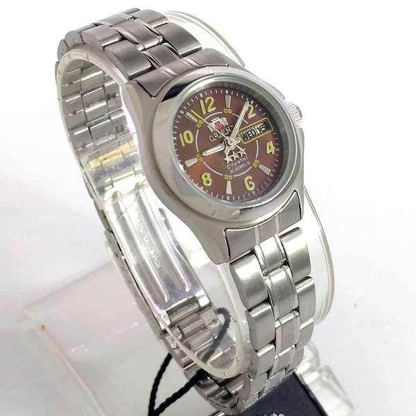 08ed79acc0e06 Relógio Orient Automatico Feminino Prateado Marrom Autêntico 25MM - E- Presentes