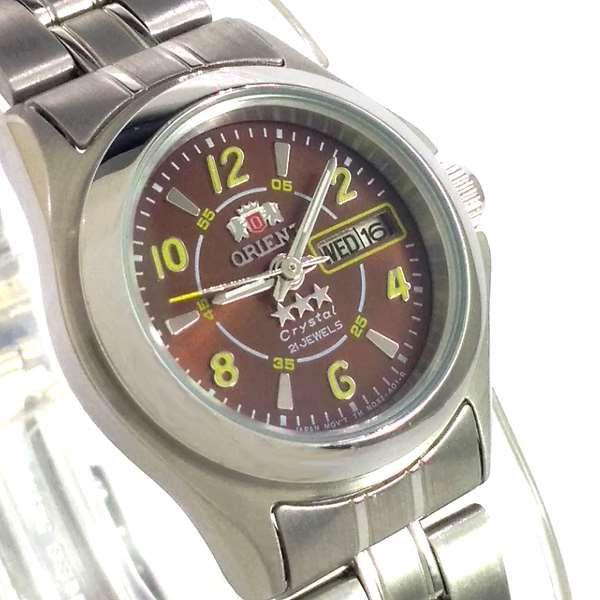 Relógio Orient Automatico Feminino Prateado Marrom Autêntico 25MM  - E-Presentes
