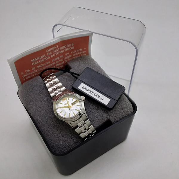Relógio Orient Automatico Pequeno Mini Feminino Prata/branco FNQ04004w9  - Alexandre Venturini