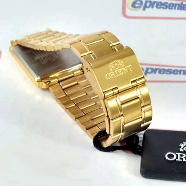 Relógio Orient Dourado Retangular Quartz Unissex 28mm FUNAX004C0  - E-Presentes