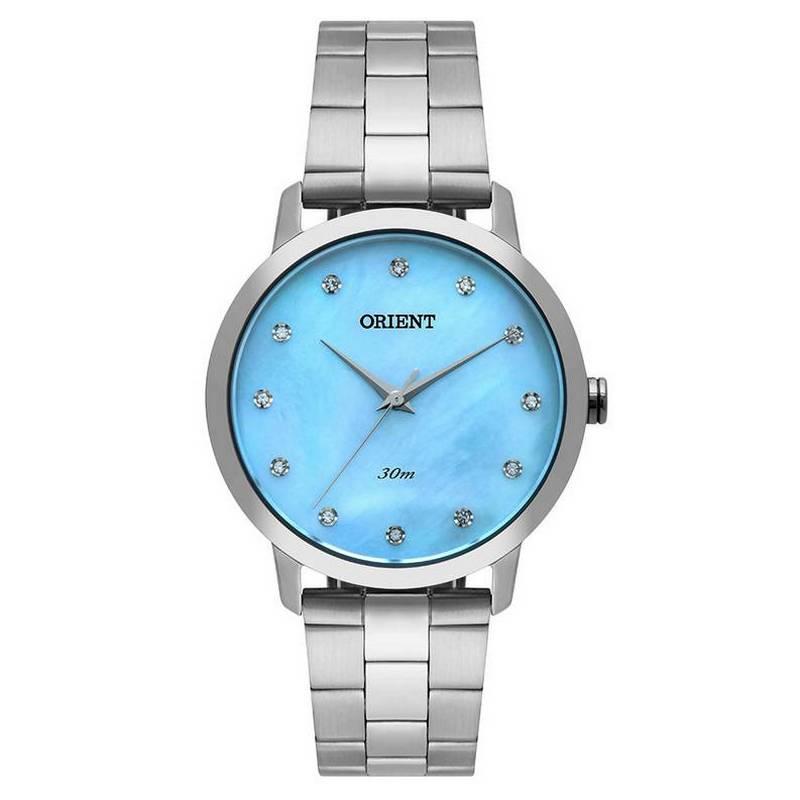 Relógio Orient Feminino 36 MM Madriperola Azul Swarovski FBSS0071-A1SX Quartz  - E-Presentes