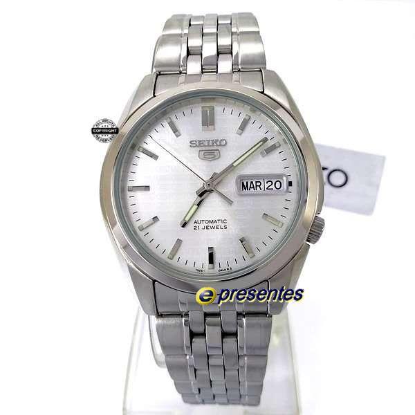 SNK355K1 Relógio Automático Seiko 5 Pulseira Aço Inox 37mm Fundo branco  - Alexandre Venturini
