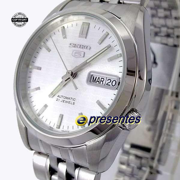 SNK355K1 Relógio Automático Seiko 5 Pulseira Aço Inox 37mm Fundo branco  - E-Presentes