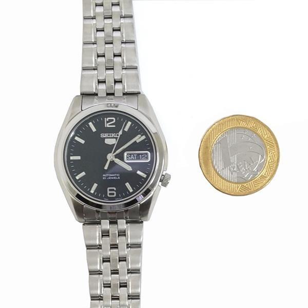 SNK393K1 Relógio Automático Seiko 5 Pulseira Aço Inox 37mm Fundo Preto  - E-Presentes