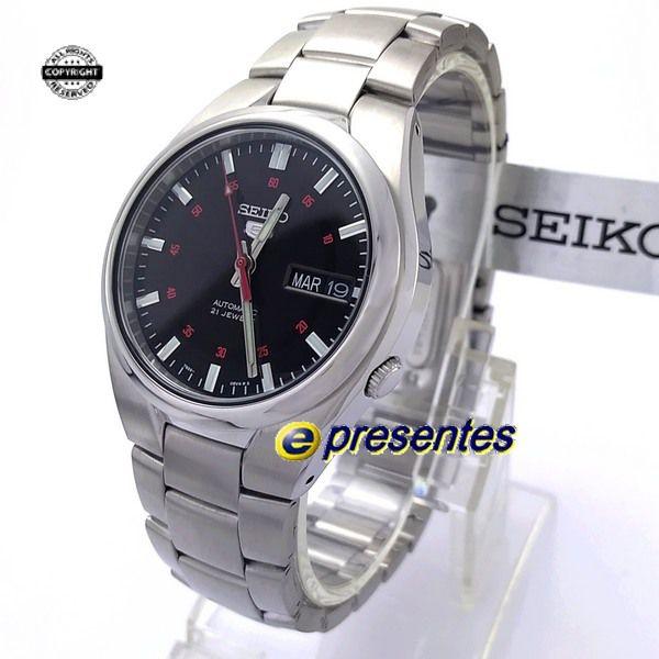 SNK617K1 Relógio Automático Seiko 5 Pulseira Aço Inox 37mm Fundo Preto  - E-Presentes