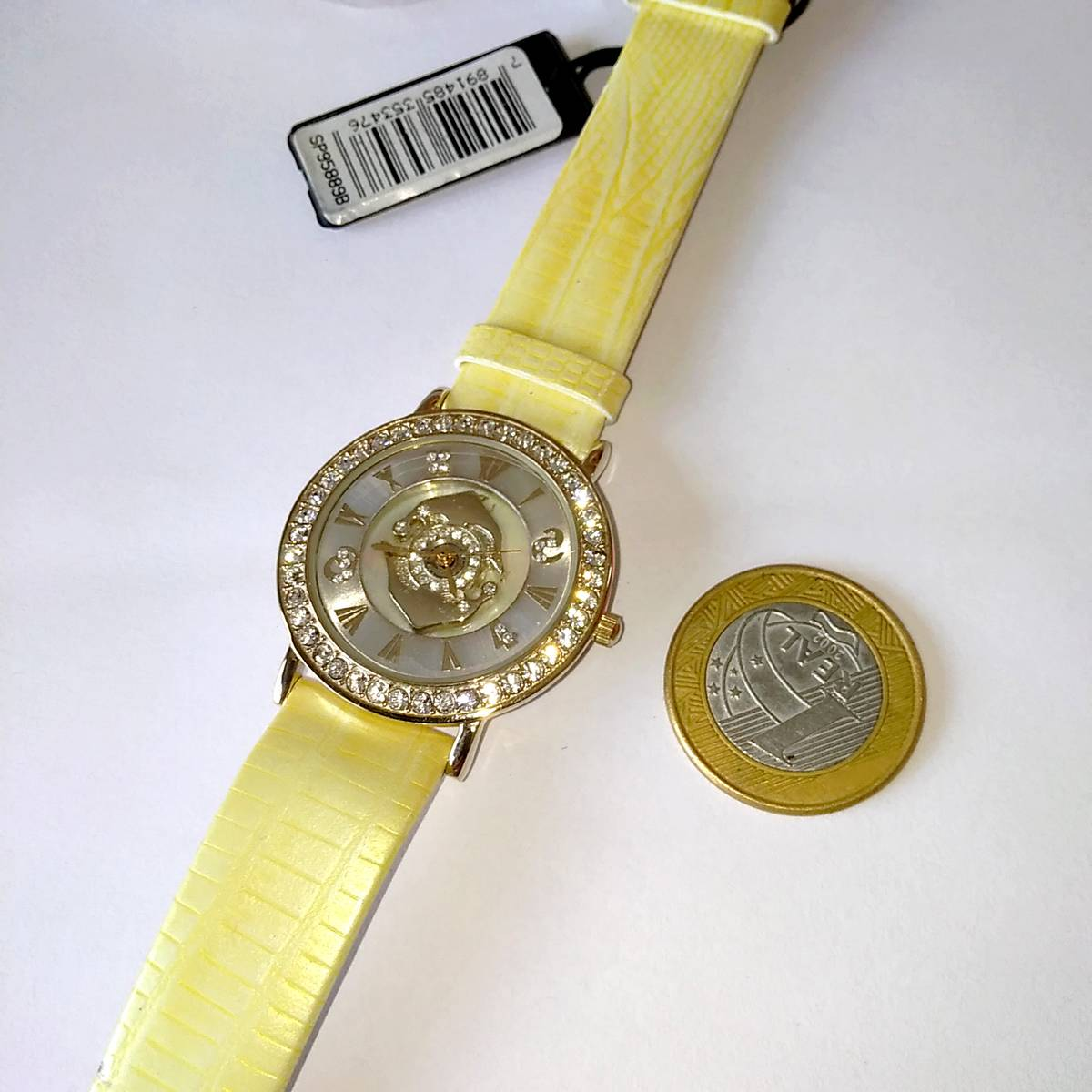 SP95889B Relógio Dumont Golfinhos Strass Pulseira Couro  - E-Presentes