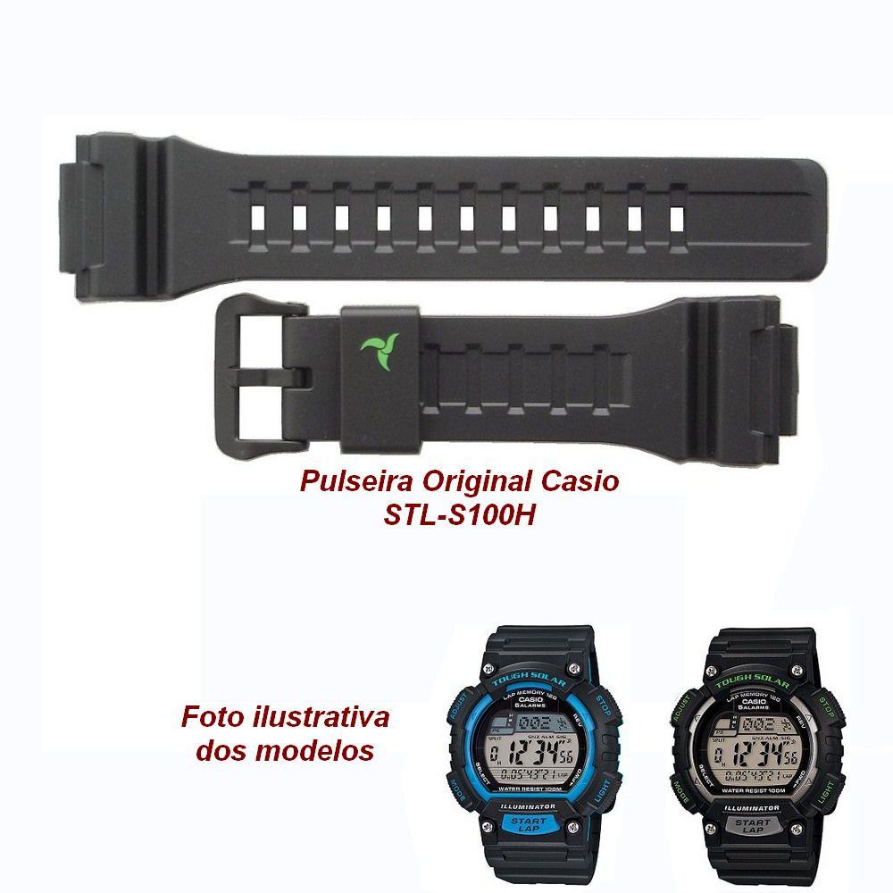STL-S100h Pulseira Casio Resina Preta 100% original *  - E-Presentes