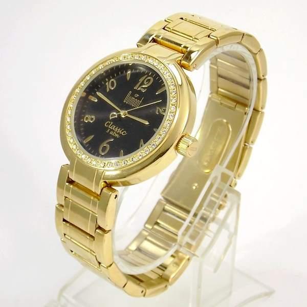 SW85026P Relógio Feminino Dumont Dourado Cristais Swarovski  - E-Presentes