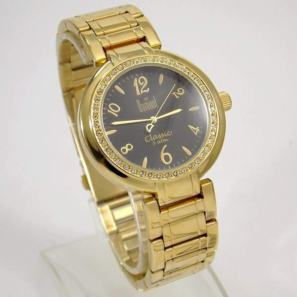 6029f72f41e SW85026P Relógio Feminino Dumont Dourado Cristais Swarovski - E-Presentes