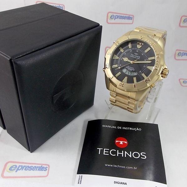 T205FL/4P RELÓGIO TECHNOS SKYDIVER DOURADO 52MM ANADIGI MASCULINO  - E-Presentes