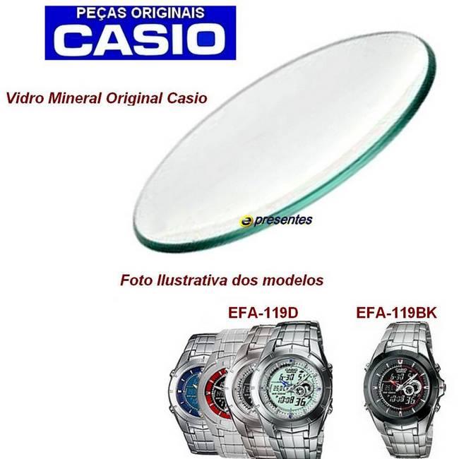 Vidro Mineral Casio Edifice  EFA-119D   EFA-119BK  *  - E-Presentes