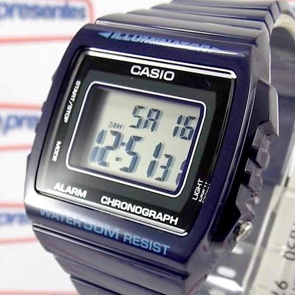 W-215h-2av Relógio Casio Digital Azul Escuro Brilhante Wr50m  - E-Presentes