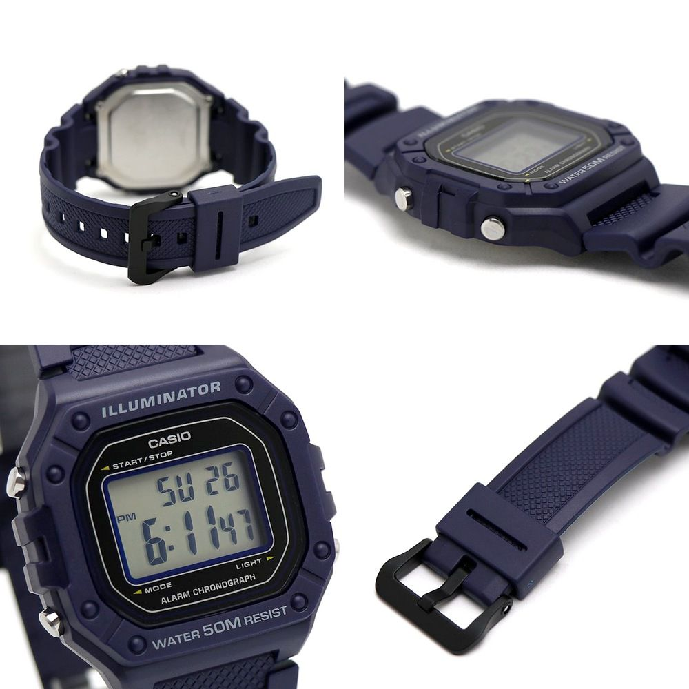 W-218H-2AV Relógio Casio Digital Azul 43mm largura wr50 luz  - E-Presentes