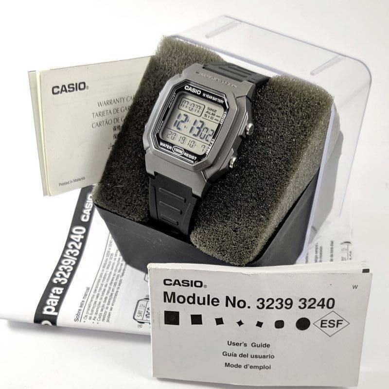 W-800HM-7 Relógio Casio Digital WR100m Iluminação Preto/cinza  - E-Presentes