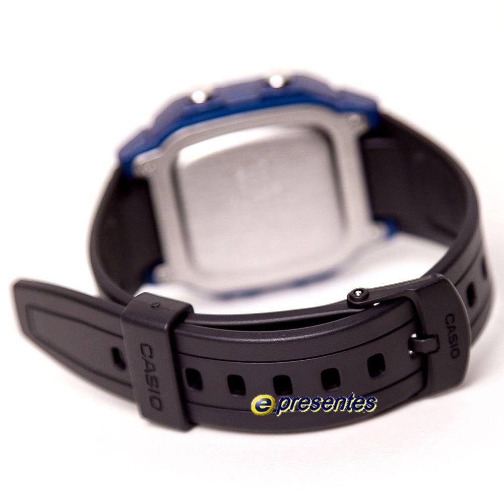 W-800HM-2 Relógio Casio Digital WR100m Iluminação Preto/Azul  - E-Presentes